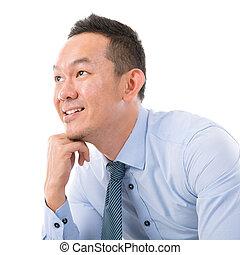 Asiático, homem, pensando