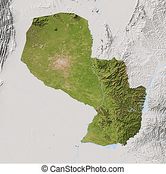 Paraguay, shaded relief map - Paraguay. Shaded relief map...