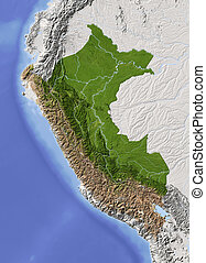 Peru, shaded relief map - Peru. Shaded relief map....