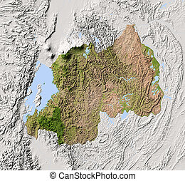 Rwanda, shaded relief map - Rwanda. Shaded relief map....