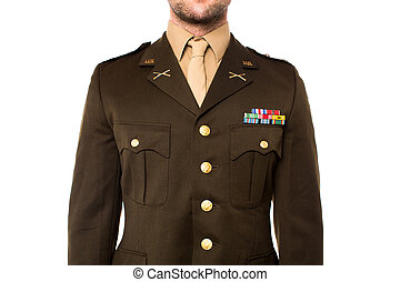 Young man in military uniform, cropped image - Cropped image...