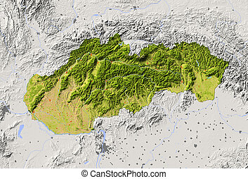 Slovakia, shaded relief map - Slovakia. Shaded relief map...