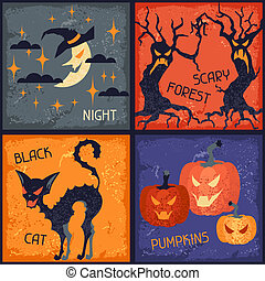 Happy Halloween grungy retro backgrounds