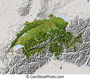 Switzerland, shaded relief map - Switzerland Shaded relief...