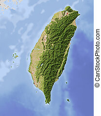 Taiwan, shaded relief map - Taiwan Shaded relief map, with...