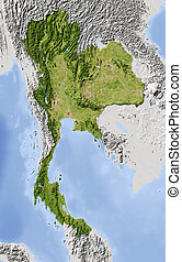 Thailand, shaded relief map - Thailand Shaded relief map...