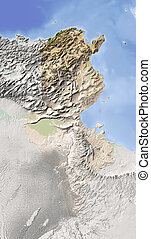 Tunisia, shaded relief map