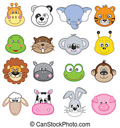set animal faces - animal faces icons