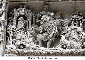 Amboise - Detail of Late Gothic carving on the Chapel of...