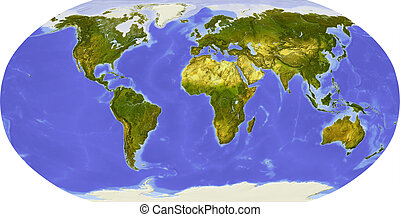 Globe, centered on Africa - Globe in Robinson projection,...