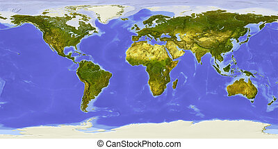 World map, centered on Africa - World map centered on...