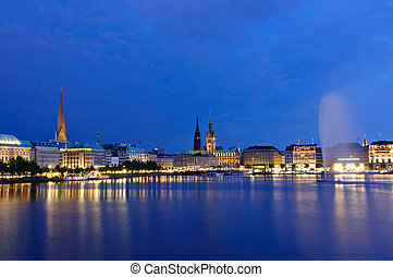 Hamburg, Germany - The old city of Hamburg and the Alster at...