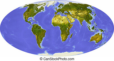 World map, centered on Africa - World map in Mollweide...
