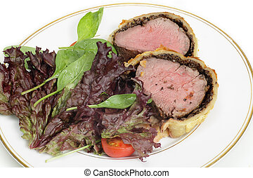Salad with beef wellington