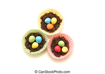 Chocolate Easter Nests and Eggs - Chocolate Easter nests...