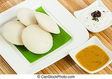 Idly with Coconut Chutney - A traditional ethnic south...