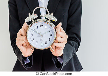 Clock on bussiness hand