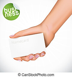 Hand Holding Name Card - Vector Hand Holding Name Card...