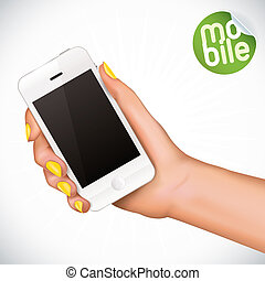 Hand Holding Mobile Phone - Vector Hand Holding Touchscreen...