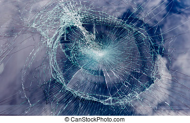 a broken windshield - broken windshield after an accident