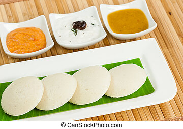 Idly with Condiments - A traditional ethnic south Indian...