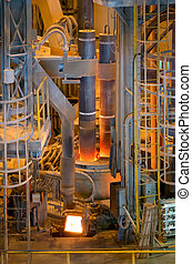Electric arc furnace - Photograph shows the melting of steel...