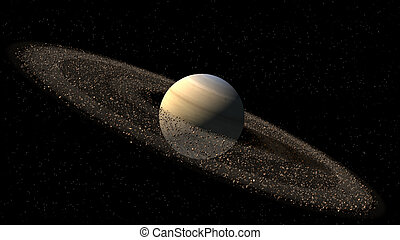 Model of Saturn like planet with asteroid rings for a space...