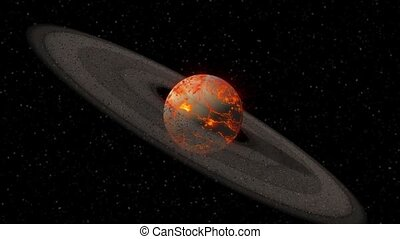 Hot Saturn like planet spinning - Saturn like planet with...