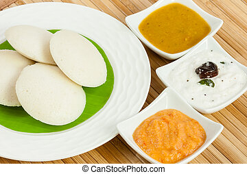 Idly with Tomato Chutney - A traditional ethnic south Indian...