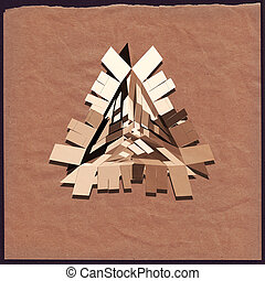 3D geometric art. Triangle on crumpled paper. - Abstract 3D...