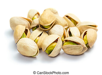 Pistachios isolated on white