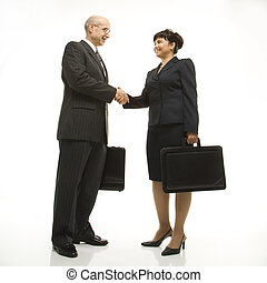 Businesspeople shaking hands. - Caucasian middle-aged...
