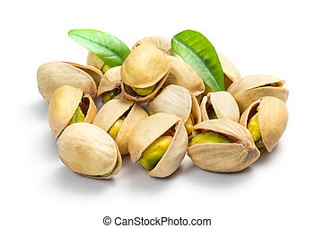 Pistachio nuts isolated on white