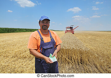 Agriculture, wheat harvest - Farmer holding Euro banknote...