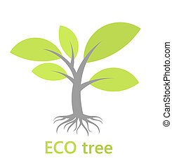 Tree with roots - Eco tree with roots. Vector illustration
