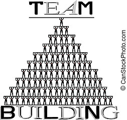 Team building, human pyramid, concept illustration on white...