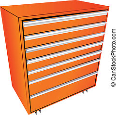 Tool box in the form of a locker with drawers. Vector...