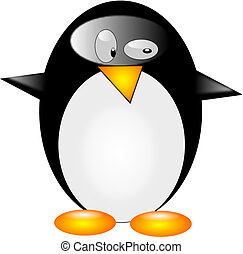 Penguin - Typical and cute penguin on the white background