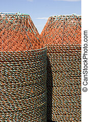 Crab Traps - Stacks of crab traps, nova scotia