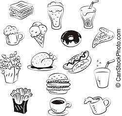 hand draw foods in doodle style