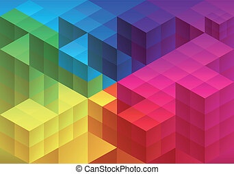 Abstract geometric background - Abstract cube design,...