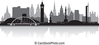 Glasgow city skyline silhouette vector illustration