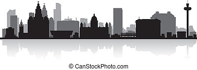 Liverpool city skyline silhouette vector illustration