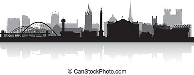 Newcastle city skyline silhouette vector illustration