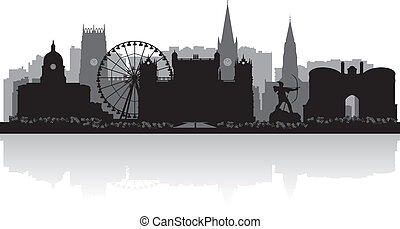 Nottingham city skyline silhouette