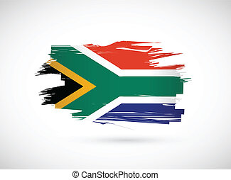 south africa ink brush flag illustration design graphic