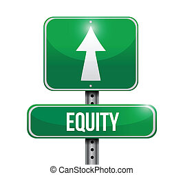 equity road sign illustration design over white