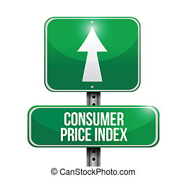 consumer price index road sign illustration design over...