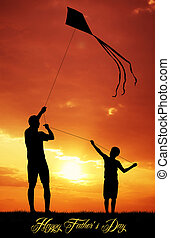 Happy father's day - father and son with kite