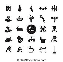 Black bathroom Icons Set - Black Bathroom Icons Set, eps...